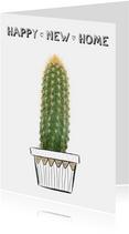 Verhuiskaart happy new home met cactus plant