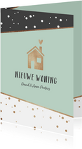 Verhuiskaart hip stijlvol stipjes goud huisje hartje