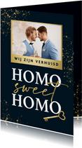 Verhuiskaart homo sweet homo gay sleutel foto goud