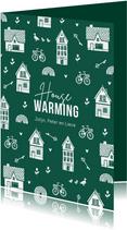 Verhuiskaart housewarming nieuwe woning huisjes sleutel