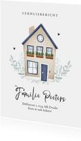 Verhuiskaart huis illustratie fris stijlvol