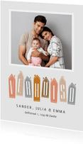 Verhuiskaart huisjes foto verhuisd modern typografisch
