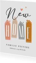 Verhuiskaart huisjes nieuwe woning new home hartjes