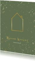 Verhuiskaart kerst groen staand met huis - Een gouden kerst