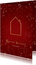 Verhuiskaart kerst staand met huisje goud - Een gouden kerst