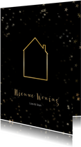 Verhuiskaart kerst zwart staand met huis - Een gouden kerst