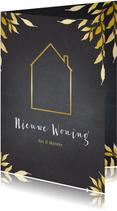 Verhuiskaart krijtbord gouden huis