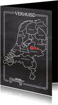 Verhuiskaart krijtbord landkaart