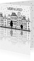 Verhuiskaart met Amsterdamse huisjes en reflectie