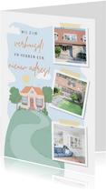 Verhuiskaart met fotocollage en illustratie van een huis.