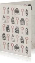 Verhuiskaart met huisjes en sleutels