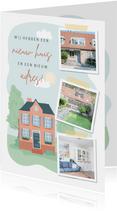 Verhuiskaart met illustratie van een huis en fotocollage