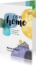 Verhuiskaart met verfvlekken en huis