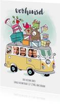 Verhuiskaart met volkswagenbusje en foto's
