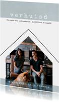 Verhuiskaart, modern en eenvoudig met foto in vorm van huis