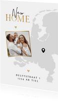 Verhuiskaart Nederland kaart new home goud hartjes foto