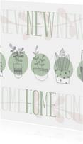 Verhuiskaart 'NEW HOME' botanische stijl