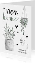 Verhuiskaart new home met planten en hartjes