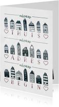 Verhuiskaart 'Nieuw Begin' met huisjes