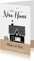 Verhuiskaart nieuwe woning huis kraft illustratie