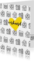 Verhuiskaart rechthoekig met getekende zwart-witte huisjes