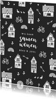 Verhuiskaart samenwonen huisjes sleutels tulpen fiets hartje