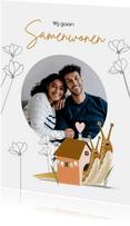 Verhuiskaart samenwonen met vrolijke illustratie en foto