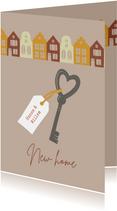 Verhuiskaart sleutel en huizen