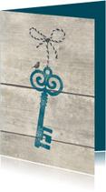 Verhuiskaart Sleutel met strikje