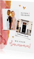 Verhuiskaart stijlvol roze verf goud hartjes foto's