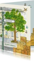 Verhuiskaart straatnaambordje en vogeltjes