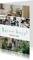 Verhuiskaart trendy fotocollage met 5 eigen foto's en tekst