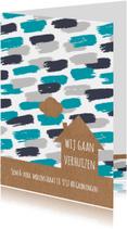 Verhuiskaart verfstrepen en huis