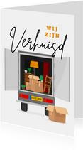 Verhuiskaart verhuiswagen illustratie dozen spullen