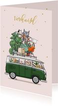 Verhuiskaart Volkswagenbusje groen