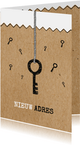 Verhuiskaart voor adreswijziging kraft look