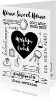 Verhuiskaart zwart-wit handlettering hart