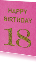 Verjaardag 18 roze glitter