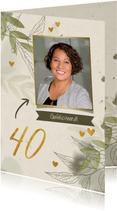 Verjaardag foto met takjes, gouden hartjes en waterverf