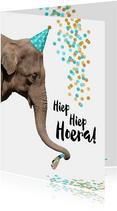 Verjaardag grappige olifant met toetertje en feesthoedje