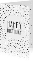 Verjaardagskaarten - Verjaardag Happy Birthday stipjes