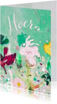 verjaardag hoera vrolijke bloemen mix