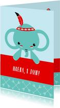 Verjaardagskaarten - Verjaardag - Indiaan olifantje