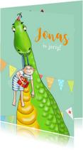 Verjaardag - jarig jongetje met dinosaurus