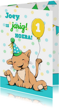 Verjaardagskaarten - Verjaardag kind leeuw feest - IH