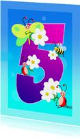 Verjaardag kinderkaart Hoera 5 jaar