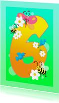 Verjaardag kinderkaart Hoera 6 jaar