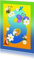 Verjaardag kinderkaartHoera 8 jaar
