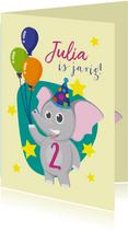 Verjaardag olifantje en ballonnen