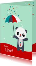 Verjaardag - Panda met paraplu en sterren